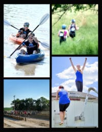 Feet on the Farm Photo Collage - Canoes, Women hiking, race, climbing a tractor trailer